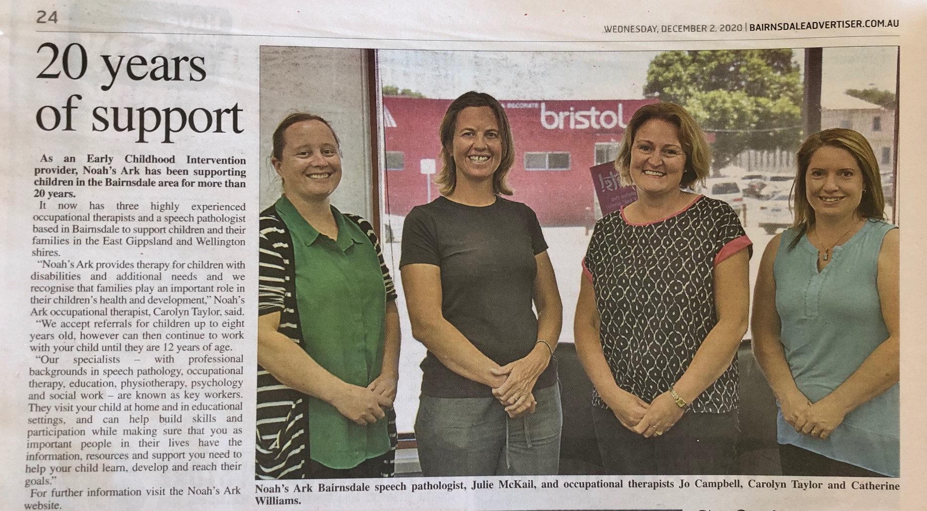 Four therapists in the Bairnsdale Advertiser newspaper